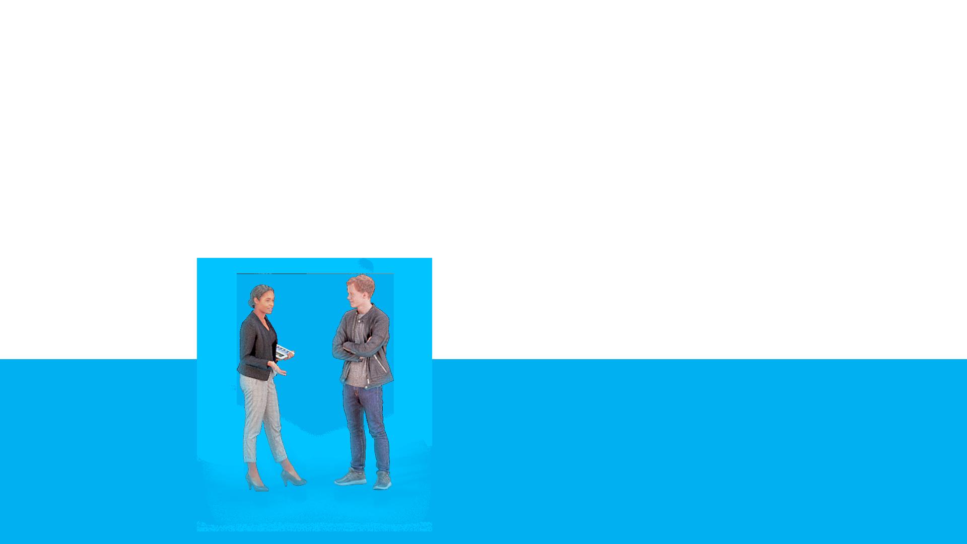 Zwei Personen sprechen miteinander