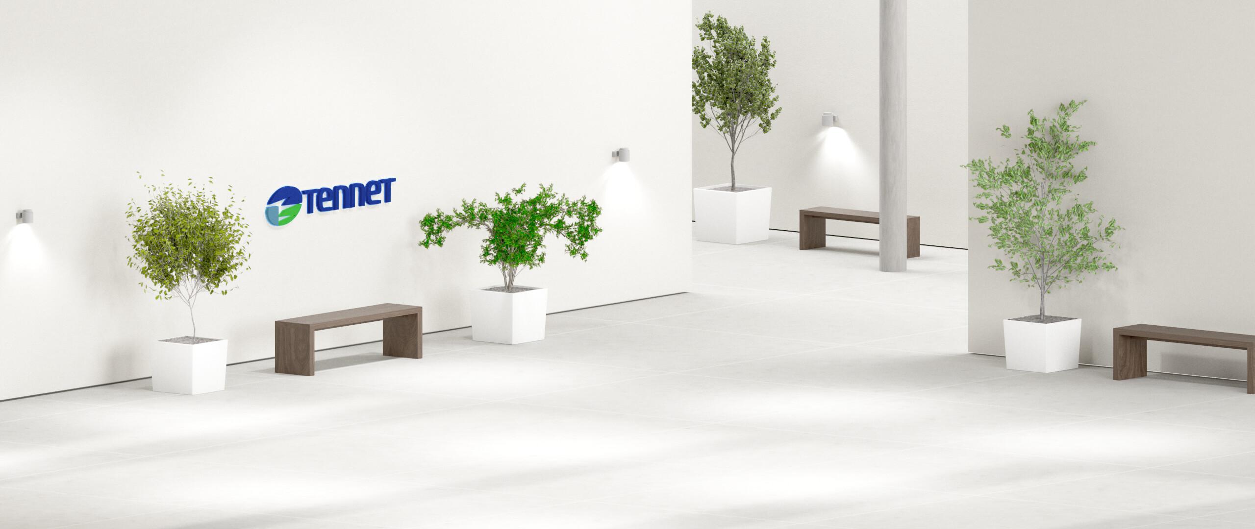 Hintergrund des Infomarktes, Raum mit Bäumen und TenneT-Logo an der Wand