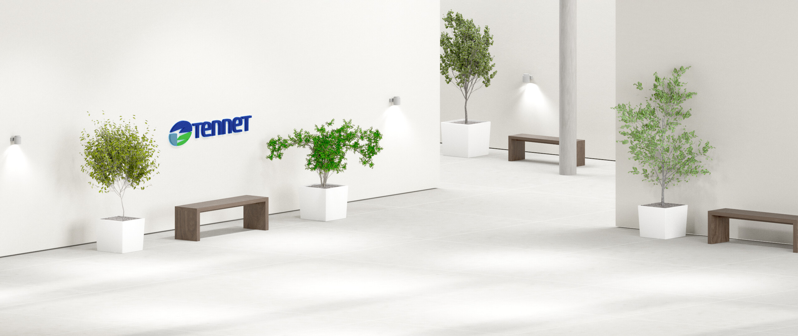 Raum mit Pflanzen und TenneT-Logo an der Wand