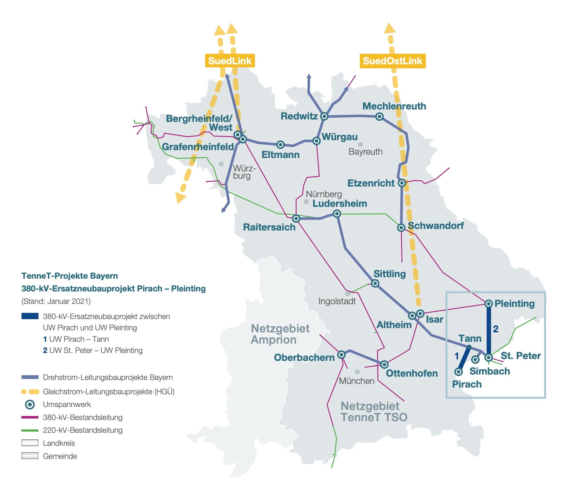 Schaubild TenneT-Projekte Bayern