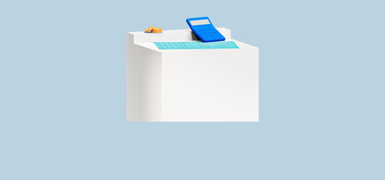 Stele mit Taschenrechner