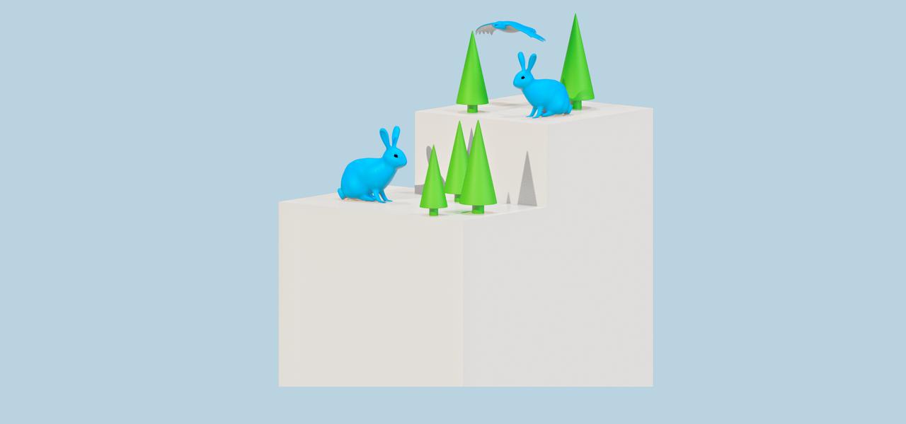 Infostele mit Hasen und Bäumen